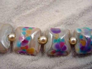 Detail Image for art Ambrosia Arts *DESERT BLOOMS* Handmade Lampwork 13 Beads - SOLD
