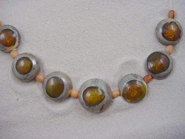 Art: Ambrosia Arts *GOLDEN EYES II* Lampwork 7 Beads Handmade - sold by Artist Bonnie G Morrow