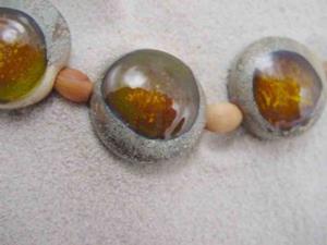Detail Image for art Ambrosia Arts *GOLDEN EYES II* Lampwork 7 Beads Handmade - sold