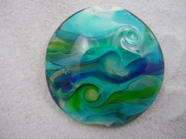 Art: Ambrosia *EARTH ORBS* Handmade Lampwork FOCAL Bead - SOLD by Artist Bonnie G Morrow