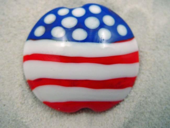 Art: Ambrosia *AMERICAN FLAG* Handmade Lampwork FOCAL Bead - SOLD by Artist Bonnie G Morrow