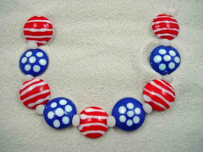 Art: Ambrosia Arts *STARS & STRIPES FOREVER* Lampwork 9 Beads Handmade - SOLD by Artist Bonnie G Morrow