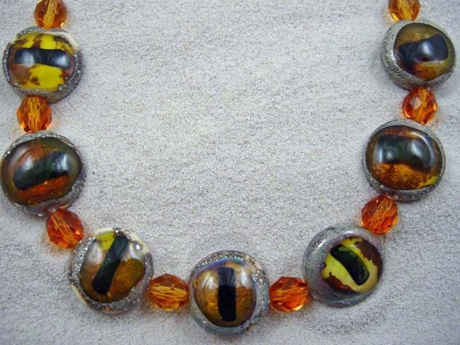 Art: Ambrosia Arts *CAT EYES* Lampwork 7 Beads Handmade - SOLD by Artist Bonnie G Morrow