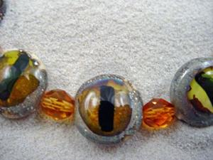 Detail Image for art Ambrosia Arts *CAT EYES* Lampwork 7 Beads Handmade - SOLD