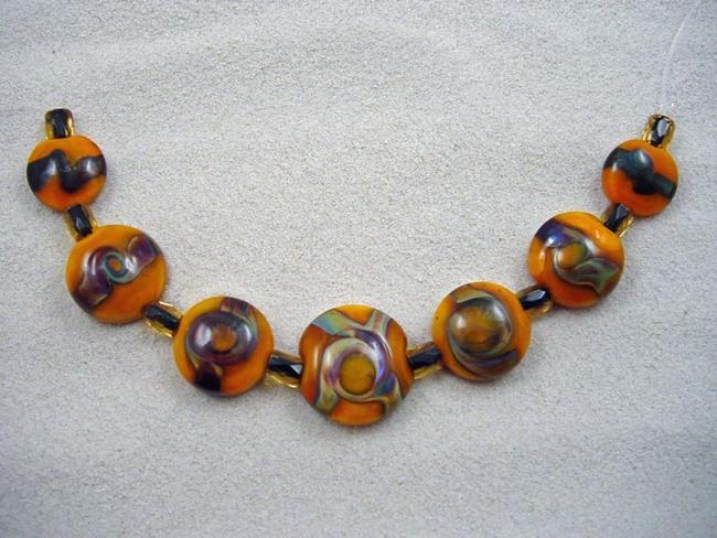 Art: Ambrosia Arts *SUNNY TWIST* Lampwork 7 Beads Handmade - SOLD by Artist Bonnie G Morrow