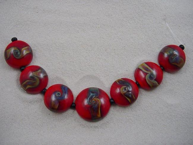 Art: Ambrosia Arts *RED TWIST* Lampwork 7 Beads Handmade - SOLD by Artist Bonnie G Morrow