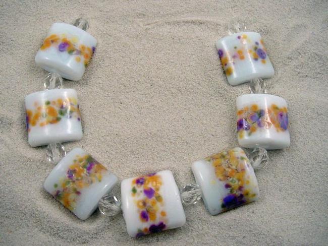 Art: Ambrosia Arts *SPRING BLOOM* Lampwork 7 Beads Handmade - SOLD by Artist Bonnie G Morrow