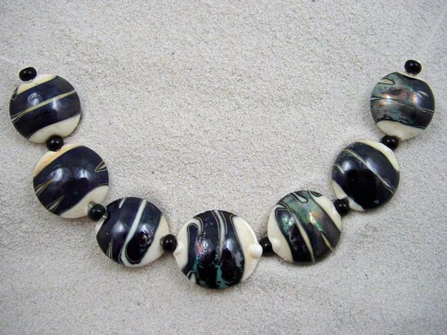Art: Ambrosia Arts *KADINSKY WRAP* Lampwork 7 Beads Handmade - SOLD by Artist Bonnie G Morrow
