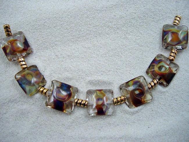 Art: Ambrosia Arts *TERRA ORBS* Lampwork 7 Beads Handmade - SOLD by Artist Bonnie G Morrow