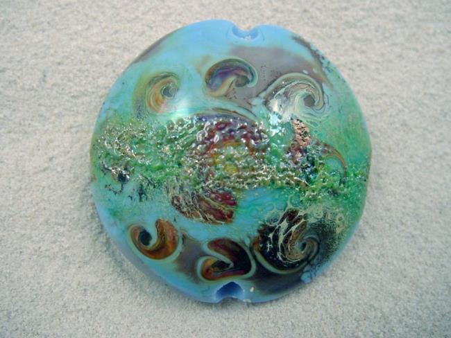 Art: Ambrosia *TERRA SPINS* Handmade Lampwork FOCAL Bead by Artist Bonnie G Morrow