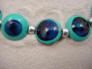 Detail Image for art Ambrosia Arts *KRONOS EYES* Lampwork 7 Beads Handmade - SOLD