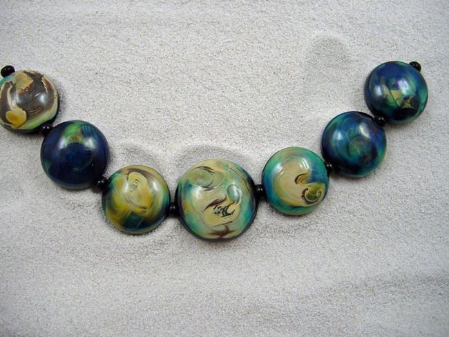 Art: Ambrosia Arts *IN HER EYES* Lampwork 7 Beads Handmade - SOLD by Artist Bonnie G Morrow