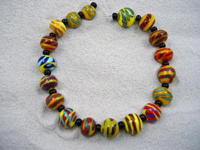 Art: Ambrosia Arts *BEACH BALLS* Lampwork 18 Beads Handmade by Artist Bonnie G Morrow