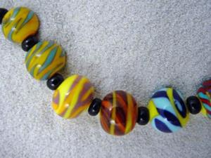 Detail Image for art Ambrosia Arts *BEACH BALLS* Lampwork 18 Beads Handmade