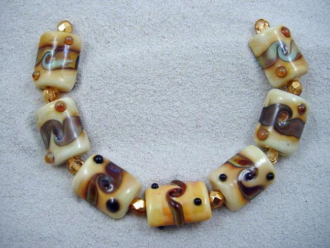 Art: Ambrosia *GOLDEN TURN* Lampwork 7 Beads Handmade - SOLD by Artist Bonnie G Morrow