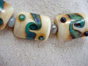 Detail Image for art Ambrosia *WATER TWISTS* Lampwork 7 Beads Handmade - SOLD