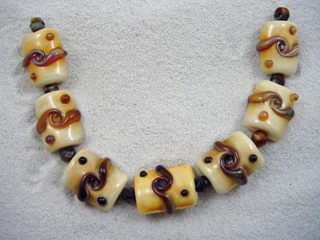 Art: Ambrosia *ORGANIC TWISTS* Lampwork 7 Beads Handmade - SOLD by Artist Bonnie G Morrow