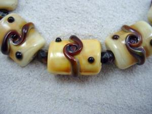 Detail Image for art Ambrosia *ORGANIC TWISTS* Lampwork 7 Beads Handmade - SOLD