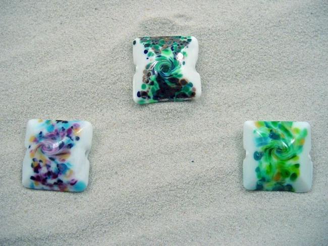 Art: Ambrosia *3 FOCALS F* Lampwork 3 FOCAL Beads Handmade - SOLD  by Artist Bonnie G Morrow