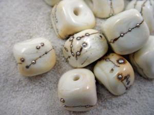Detail Image for art Ambrosia *SILVER IVORY CUBES* Lampwork Beads Handmade