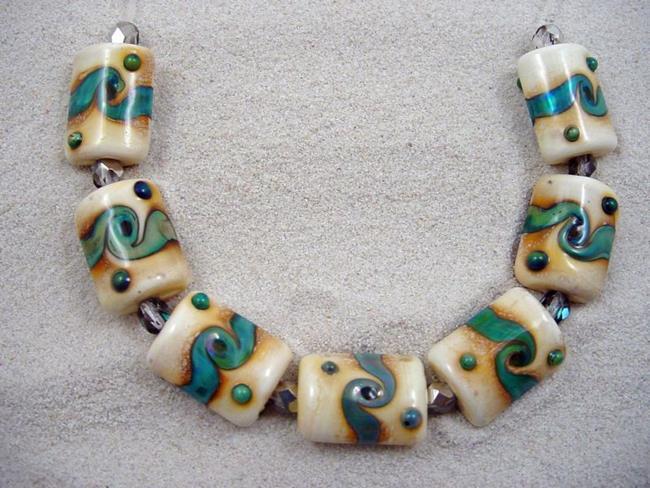 Art: Ambrosia *TWISTING RIVERS* Lampwork 7 Beads Handmade - SOLD by Artist Bonnie G Morrow