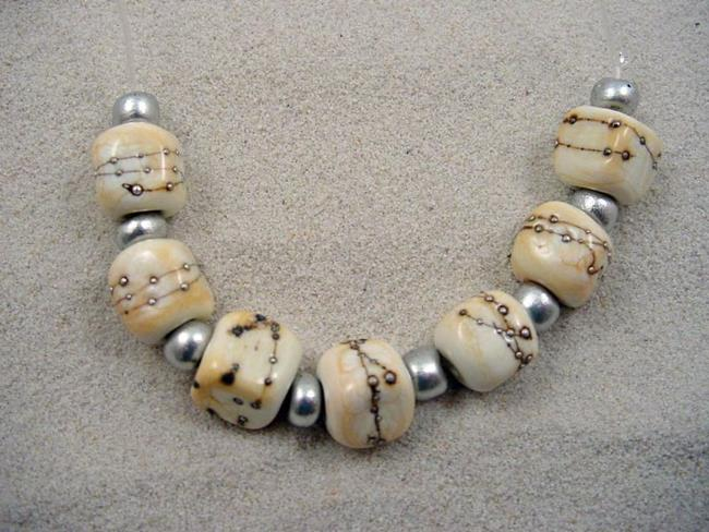 Art: Ambrosia *SILVER IVORY CUBES* Lampwork 7 Beads Handmade - SOLD by Artist Bonnie G Morrow