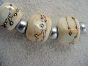 Detail Image for art Ambrosia *SILVER IVORY CUBES* Lampwork 7 Beads Handmade - SOLD