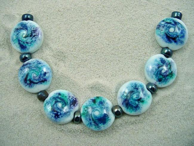 Art: Ambrosia *DUSTED 7* Lampwork 7 Beads Handmade - SOLD by Artist Bonnie G Morrow
