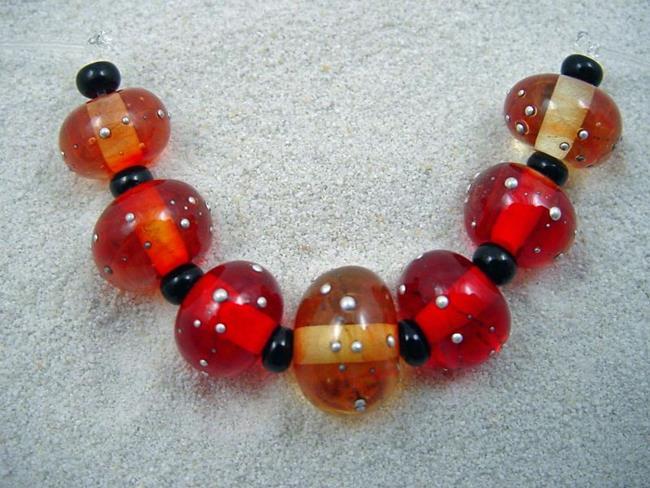 Art: Ambrosia *SILVER WRAPS 6* Lampwork 7 Beads Handmade - SOLD by Artist Bonnie G Morrow