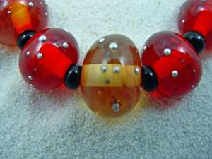 Detail Image for art Ambrosia *SILVER WRAPS 6* Lampwork 7 Beads Handmade - SOLD