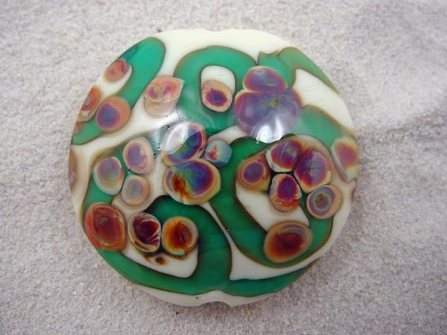 Art: Ambrosia *RAKU ROADS 3* Lampwork FOCAL Bead Handmade - SOLD  by Artist Bonnie G Morrow