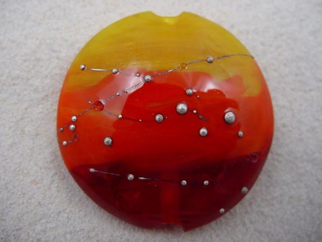 Art: Ambrosia *SILVER WRAPS 9* Lampwork FOCAL Bead Handmade - SOLD by Artist Bonnie G Morrow