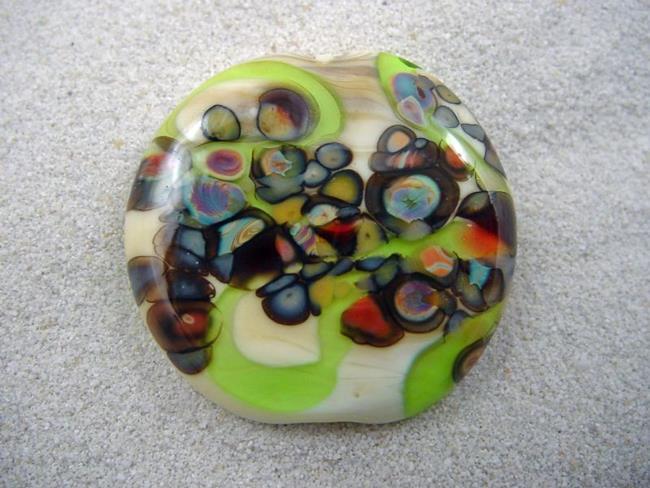 Art: Ambrosia *RAKU ROADS 1* Lampwork FOCAL Bead Handmade  - SOLD by Artist Bonnie G Morrow