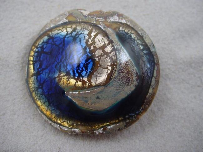 Art: Ambrosia *SAPPHIRE WHIRLPOOL* Lampwork FOCAL Bead Handmade - SOLD by Artist Bonnie G Morrow