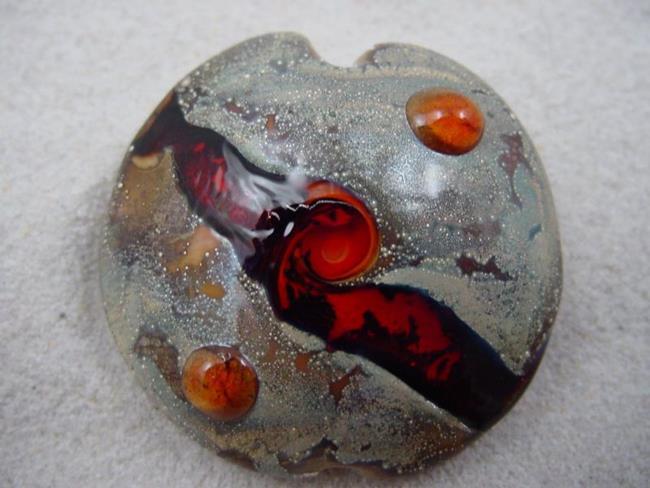 Art: Ambrosia *RUBY ORBS* Lampwork FOCAL Bead Handmade - SOLD by Artist Bonnie G Morrow