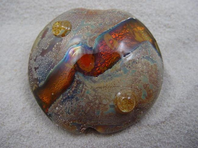 Art: Ambrosia *TOPAZ ORBS* Lampwork FOCAL Bead Handmade - SOLD  by Artist Bonnie G Morrow