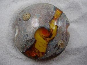 Detail Image for art Ambrosia *TOPAZ ORBS* Lampwork FOCAL Bead Handmade - SOLD