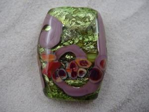 Detail Image for art Ambrosia *RAKU ROADS 6* Lampwork FOCAL Bead Handmade  - SOLD