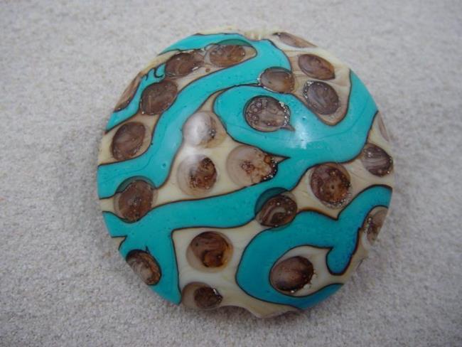 Art: Ambrosia *SILVER DOTS 2* Lampwork FOCAL Bead Handmade - SOLD by Artist Bonnie G Morrow