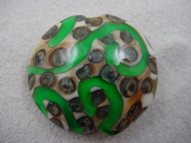Art: Ambrosia *SILVER DOTS 3* Lampwork FOCAL Bead Handmade  - SOLD by Artist Bonnie G Morrow