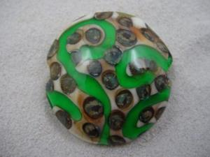 Detail Image for art Ambrosia *SILVER DOTS 3* Lampwork FOCAL Bead Handmade  - SOLD