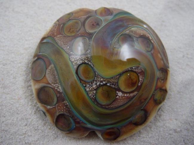 Art: Ambrosia *TERRA DOTS* Lampwork FOCAL Bead Handmade - SOLD by Artist Bonnie G Morrow