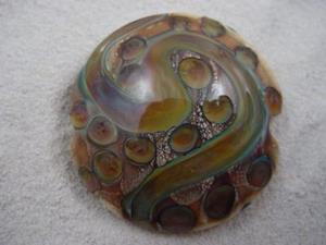 Detail Image for art Ambrosia *TERRA DOTS* Lampwork FOCAL Bead Handmade - SOLD