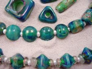 Detail Image for art Ambrosia Glass *GIDDY OVER GAIA* Lampwork 61 Beads Handmade - SOLD