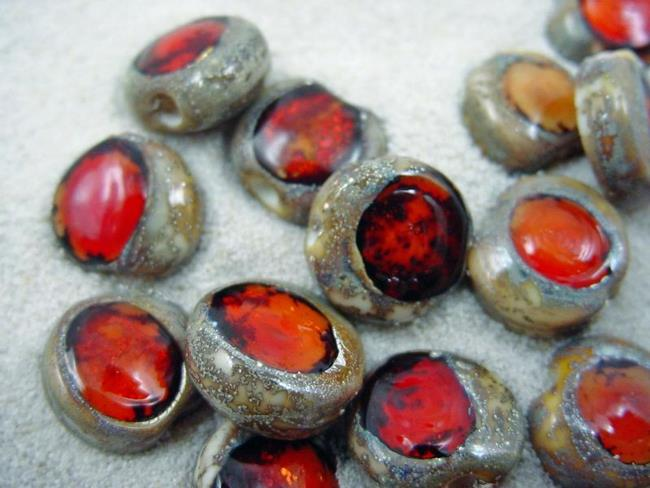 Art: Ambrosia *RUBY EYES* Lampwork Beads Handmade by Artist Bonnie G Morrow