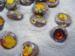 Detail Image for art Ambrosia *CITRINE EYES* Lampwork Beads Handmade