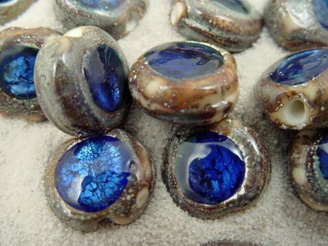 Art: Ambrosia *SAPPHIRE EYES* Lampwork Beads Handmade by Artist Bonnie G Morrow