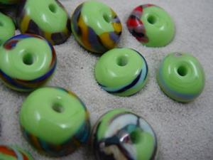 Detail Image for art Ambrosia *LIME TWISTIE WRAPS* Lampwork Beads Handmade