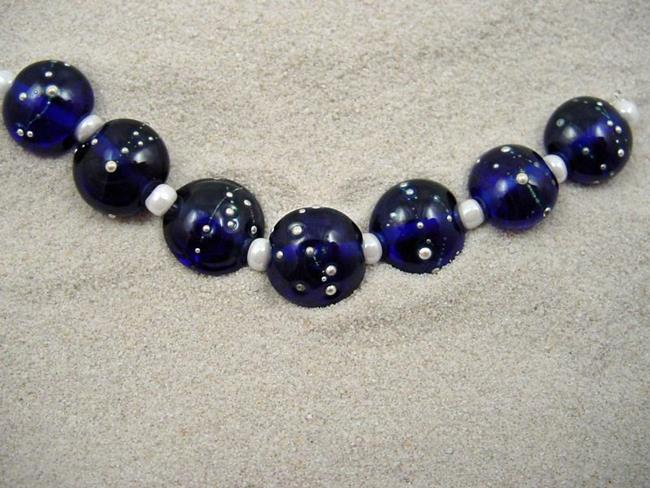 Art: Ambrosia *SILVER WRAPS 14* Lampwork 7 Beads Handmade - SOLD by Artist Bonnie G Morrow