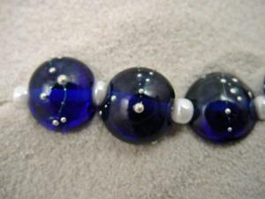 Detail Image for art Ambrosia *SILVER WRAPS 14* Lampwork 7 Beads Handmade - SOLD